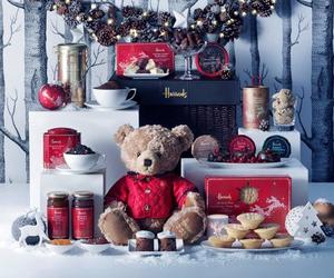 christmas, harrods, and teddy bear image