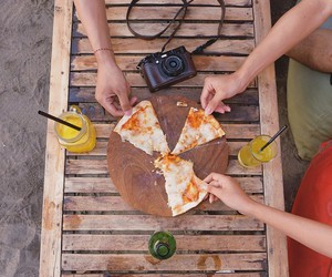 beach, best friends, and food image