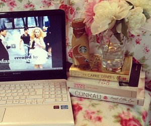 pink, books, and fashion image