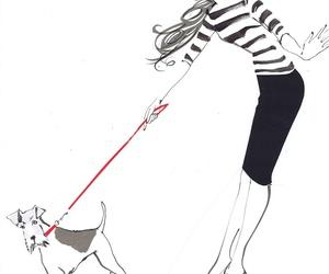 fashion, dog, and drawing image