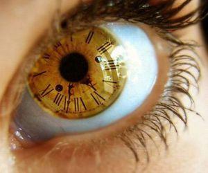 eye, clock, and eyes image