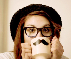 girl, moustache, and cute image