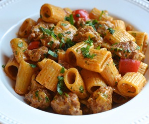 pasta, food, and meat image