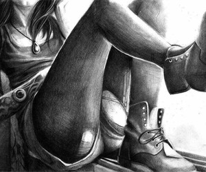 black and white, drawing, and woman image