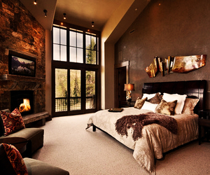 bedroom, interiors, and fireplace image