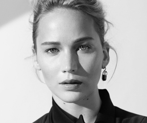 Jennifer Lawrence, actress, and black and white image