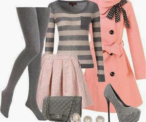 chic, coat, and heels image