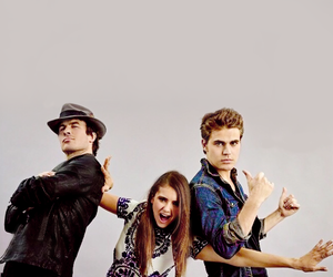paul wesley, ian somerhalder, and Nina Dobrev image