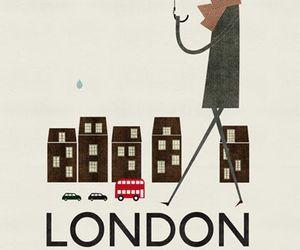 london, umbrella, and rain image
