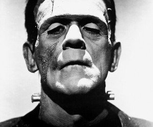 Frankenstein, horror, and black and white image