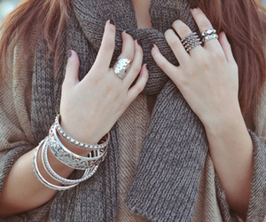 fashion, scarf, and bracelet image