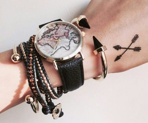 tattoo, bracelet, and watch image