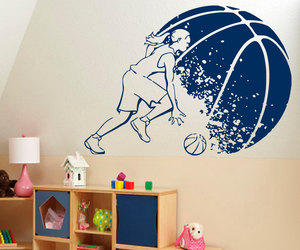 sport wall decor, basketball wall decals, and basketball decals image