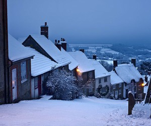 night, snow, and town image