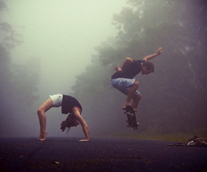 skate, boy, and forest image