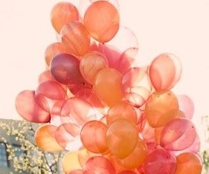 balloons, orange, and pink image