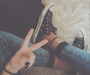 converse, girl, and indie image