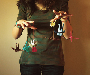 girl, origami, and photography image