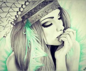 art blue black white image