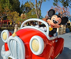 car, disney, and mickey mouse image