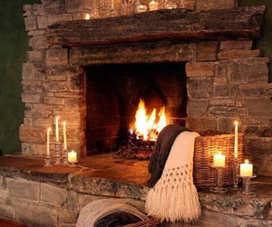 candles, cosy, and fireplace image