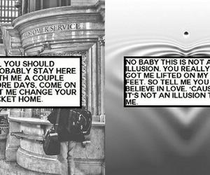 black and white, illusion, and Lyrics image