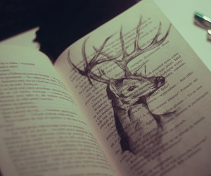book, deer, and draw image