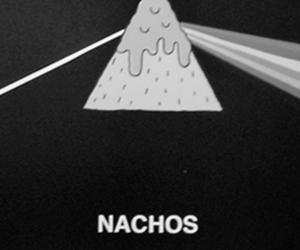 nachos, Pink Floyd, and black and white image