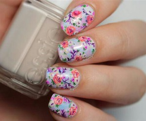 nails, pretty, and flowers image