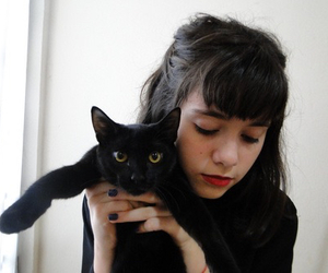 cat, girl, and black image