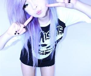 hair, emo, and purple hair image