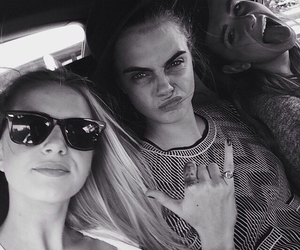 black and white, delevingne, and beauty image