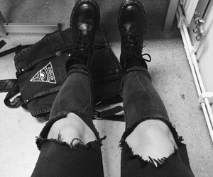 black and white, grunge, and dr martens image