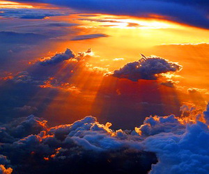 clouds, heaven, and rays image