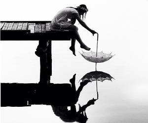 girl, umbrella, and water image