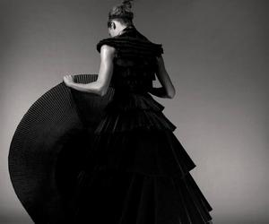 black and white, black dress, and editorial image