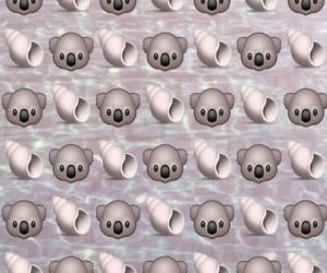 koalas, shells, and emoji background image