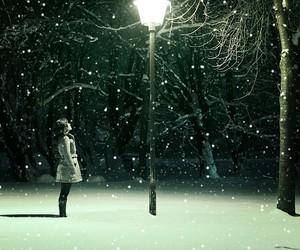 snow, girl, and light image