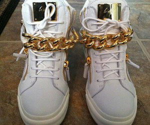 gold, shoes, and white image