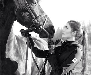 equestrian, girl, and horse image