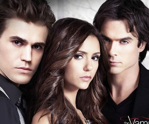 elena, damon, and the vampire diaries image