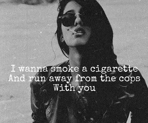 cigarette, girl, and police image