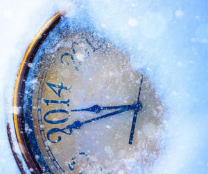 clock, snow, and winter image