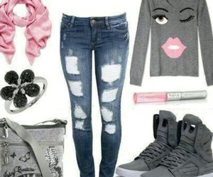 fashion, pink scarf, and ripped jeans image