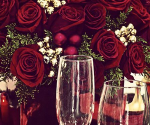 flowers, in love, and wine image