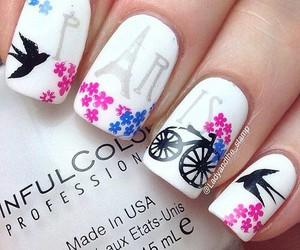 eiffel tower, nail art, and nail polish image