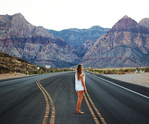 girl, mountains, and road image