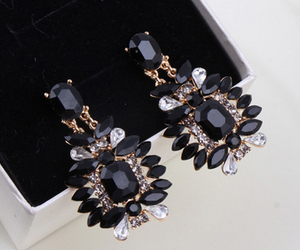 black, earrings, and accessories image