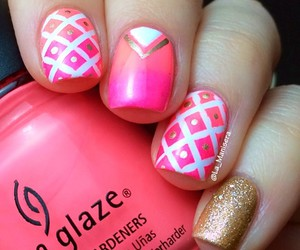 gold, nails, and pink image