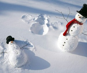 snow, snowman, and winter image